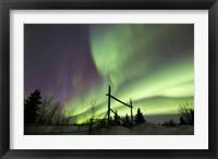 Framed Aurora Borealis over a Ranch, Whitehorse, Yukon, Canada