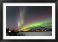 Framed Aurora Borealis over Nares Lake, Carcross, Yukon, Canada