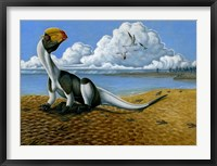 Framed Dilophosaurus on the beach
