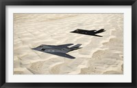 Framed Two F-117 Nighthawk Stealth Fighters over White Sands National Monument