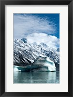 Framed Large icebergs on Tasman Glacier Terminal Lake, South Island, New Zealand