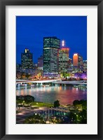 Framed Australia, Queensland, Brisbane, City Skyline  at night