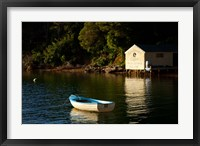 Framed Boat on the lake at Lochmara Lodge, Marlborough Sounds, New Zealand