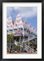 Framed Dutch Architecture of Oranjestad Shops, Aruba, Caribbean