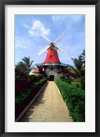 Framed Windmill, Famous Old Mill Restaurant in Aruba