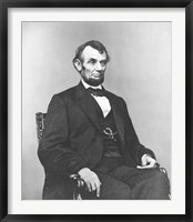 Framed Civil War era painting of President Abraham Lincoln