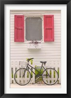 Framed Beach House and Bicycle, Loyalist Cays, Bahamas, Caribbean