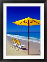 Framed Yellow Chairs and Umbrella on Pristine Beach, Caribbean