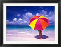 Framed Female Holding a Colorful Beach Umbrella on Harbour Island, Bahamas