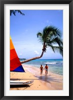 Framed Couple on Beach with Sailboat and Palm Tree, Barbados