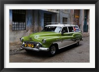 Framed 1950's era antique car and street scene from Old Havana, Havana, Cuba