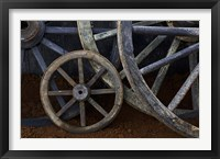 Framed Rustic wagon wheels on movie set, Cuba