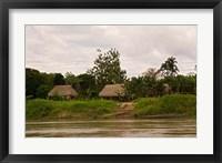 Framed Indian Village on Rio Madre de Dios, Amazon River Basin, Peru