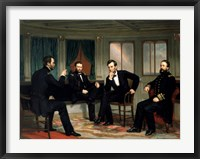 Framed Civil War Painting of The Peacemakers
