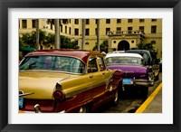 Framed Classic American cars, streets of Havana, Cuba