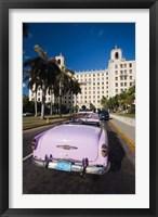 Framed Cuba, Havana, Hotel Nacional, 1950s Classic car