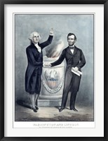 Framed President Washington and President Lincoln Shaking Hands