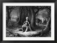 Framed General George Washington Praying at Valley Forge