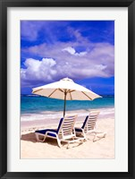 Framed Umbrellas On Dawn Beach, St Maarten, Caribbean