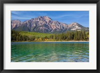 Framed Patricia Lake and Pyramid Mountain, Jasper NP, Alberta, Canada
