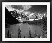 Framed Wenkchemna Peaks reflected in Moraine lake, Banff National Park, Alberta, Canada