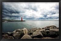 Framed Muskegon South Breakwater lighthouse, Lake Michigan, Muskegon, Michigan, USA