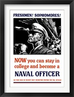 Framed US Naval Officer with Binoculars (WWII)