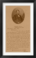 Framed President Abraham Lincoln and His Letter to Mrs Bixby