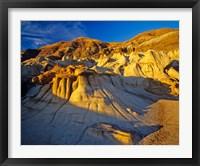 Framed Hoodoo rock formations, Drumheller Alberta, Canada