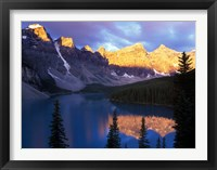 Framed Lake Moraine at First Light, Banff National Park, Alberta, Canada