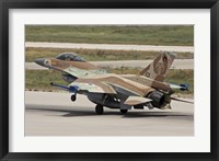 Framed F-16C Barak of the Israeli Air Force landing at Hatzor Air Force Base
