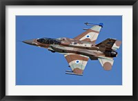 Framed F-16I Sufa of the Israeli Air Force in flight over Israel