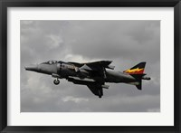 Framed Hawker Harrier V/STOL aircraft of the Royal Air Force