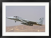 Framed F-15C Baz of the Israeli Air Force takes off from Ovda Air Force Base
