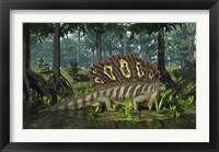 Framed Edaphosaurus forages in a brackish mangrove like swamp