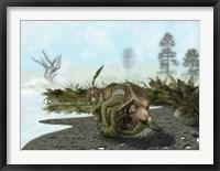 Framed Velociraptor is attacking a Protoceratops