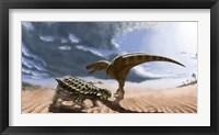 Framed Tarbosaurus dinosaur and an armored Saichania ankylosaurid