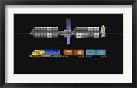 Framed Lunar space elevator compared to a locomotive
