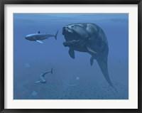 Framed prehistoric Dunkleosteus fish prepares to eat a primitive shark