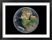 Framed Western hemisphere of the Earth during the Early Jurassic period