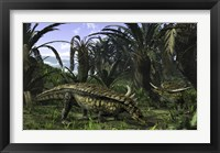 Framed Desmatosuchus search for edible roots in a prehistoric landscape