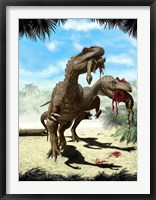 Framed Two Allosaurus with a Hypsilophodon in mouth as next meal