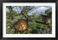 Framed Prehistoric glyptodonts graze on grassy plains An Eremotherium is in the background