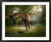 Framed Baryonyx dinosaur catches a fish out of water