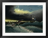 Framed Pliosaurus irgisensis attacking a shark