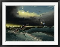 Framed Pliosaurus irgisensis attacking a shark
