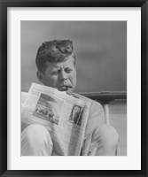 Framed John F Kennedy Smoking a Cigar