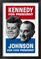 Framed 1960 Democratic Nominees, Kennedy & Johnson
