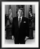 Framed President Ronald Reagan in the Oval Office