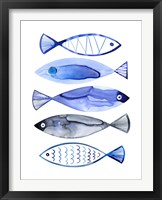 Framed Retro Watercolour Fish